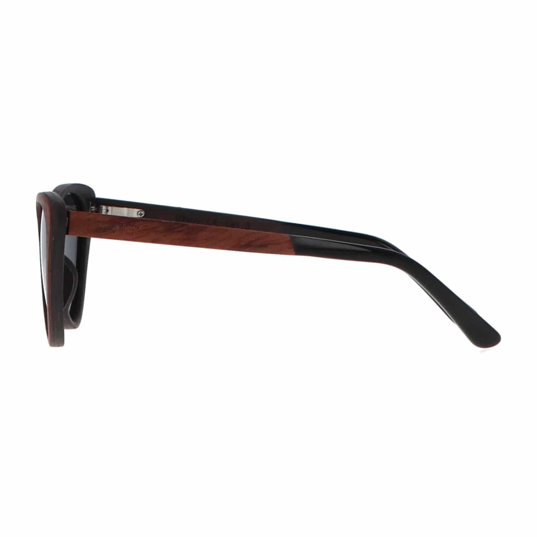 5one® Cecina Cateye Grey - zonnebril met Kosso/Ebony houten montuur