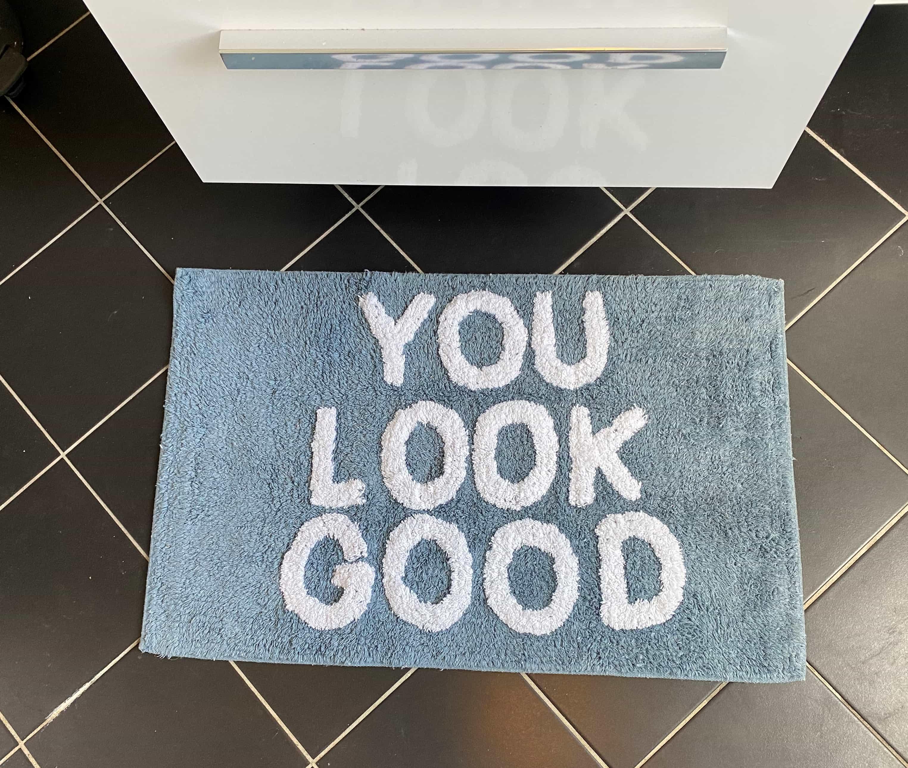 4goodz Zachte Badmat Blauw 'You Look Good' - badkamermat - 50 x 80 cm
