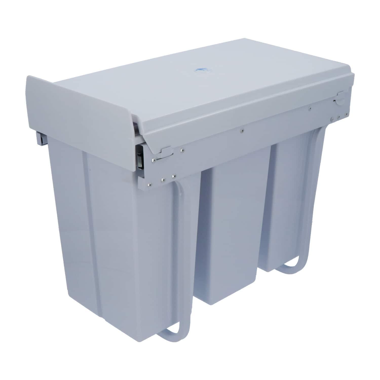4cookz® inbouw afvalscheidingsprullenbak 3-vaks 30cm - 3x 10 ltr - Wit
