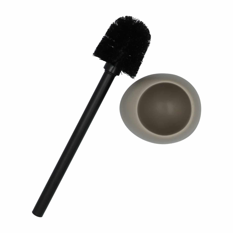 4Goodz Polystone toiletborstelset Pebbles met zwarte borstel - Taupe