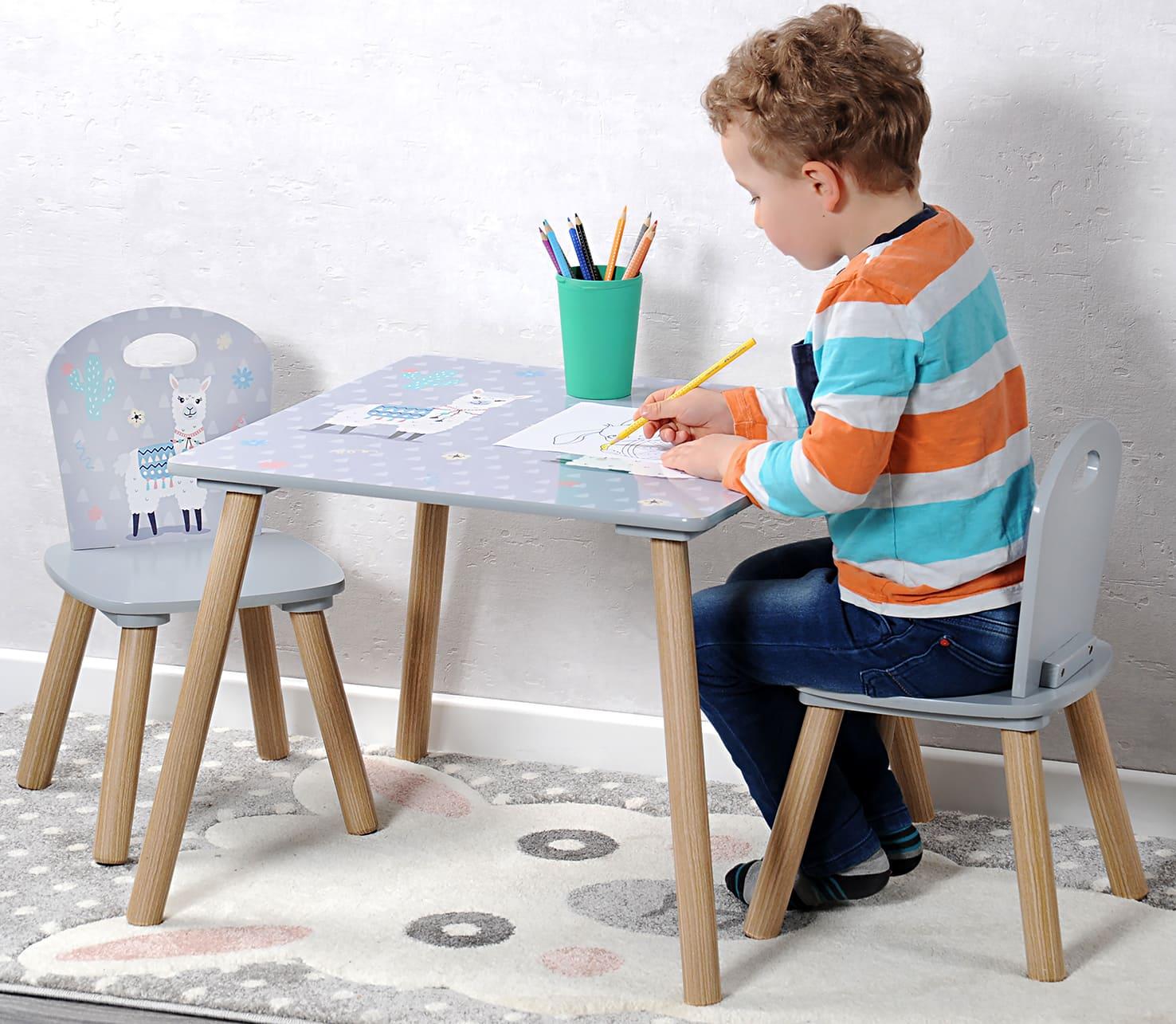 4goodz Stevige Kindertafelset met 2 stoelen Alpaca motief - Grijs