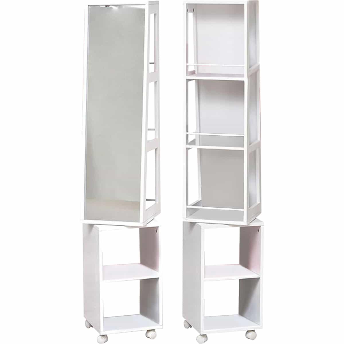 4goodz Badkamerkast / Spiegelkast staand draaibaar MDF 30x30x155 cm - Wit