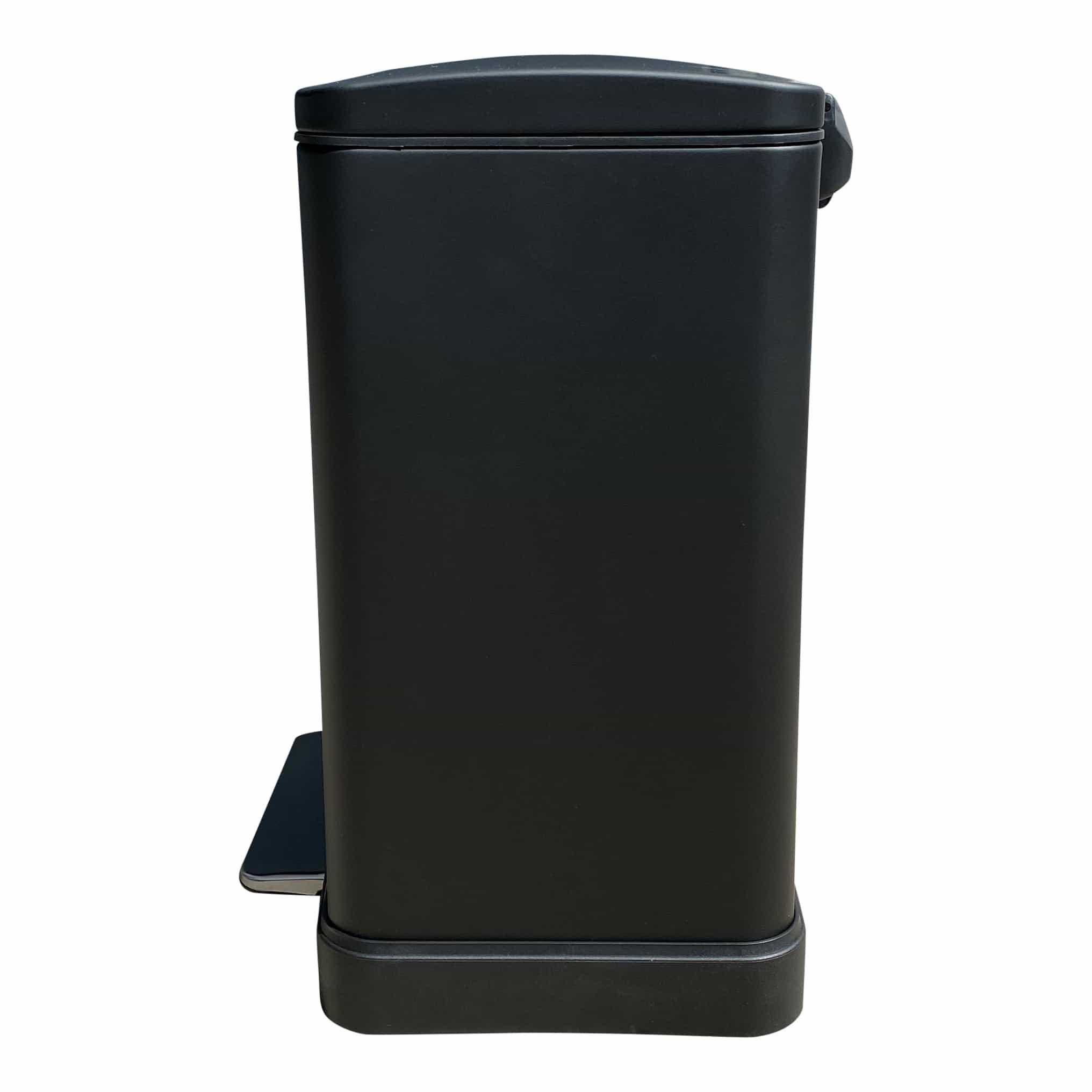 4cookz® Utah pedaal prullenbak 20L mat zwart - soft-close