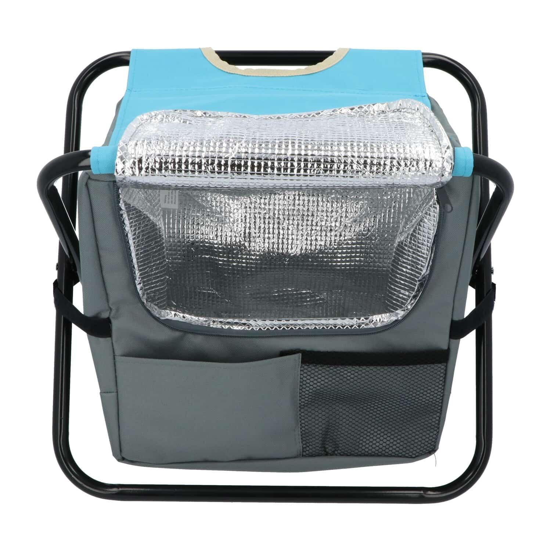 Hanse® Kampeerkruk met koeltas Blauw/Grijs - 42x28x36 cm - Visstoel