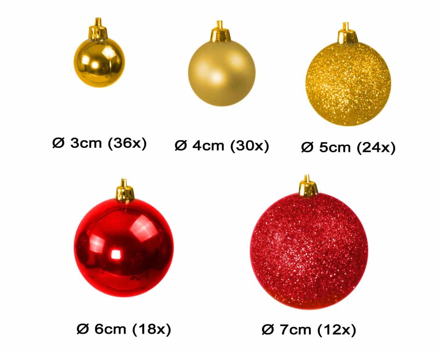 Kunststof Kerstballen set 120 ballen - binnen buiten - Goud/Bordeaux
