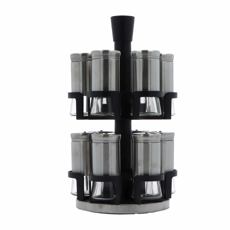 4goodz Kruidenrek metaal Draaiend met 12 rvs potjes - 19,5x33,5cm