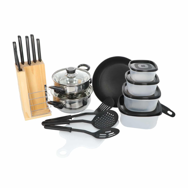 4Goodz starterset keukenmateriaal 18 delig - pannen messen keukengerei