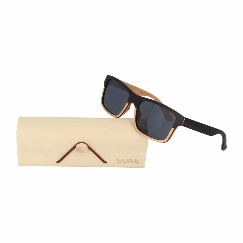 5one® Wayfarer 2-tone - Ebony met maple wood houten zonnebril - Grijs