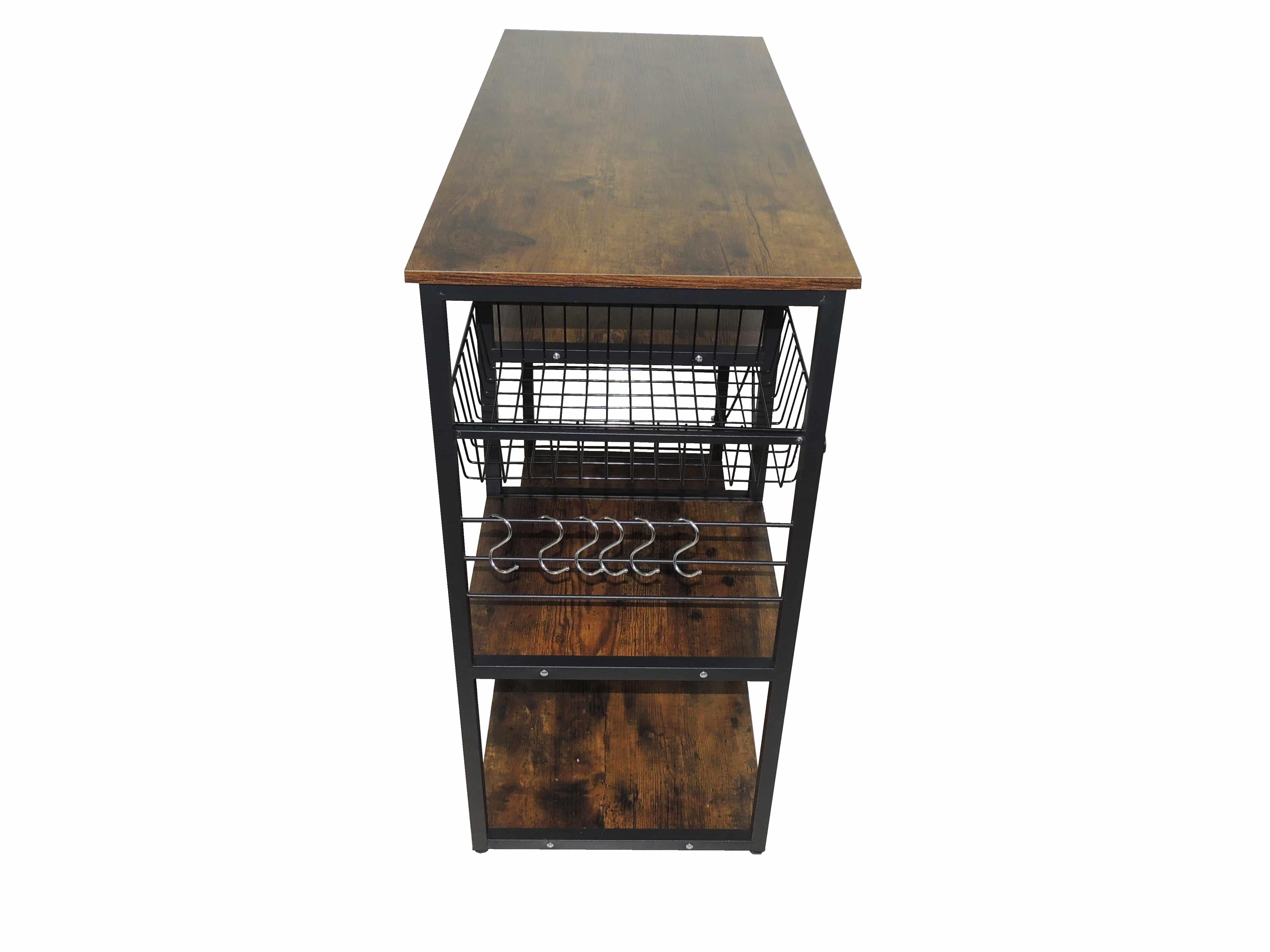 4livingz Retro Industrieel Keukenrek 40x90x84 cm - zwart/bruin