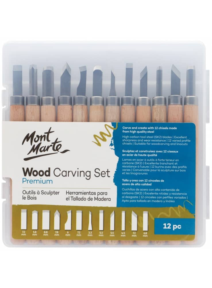 Mont Marte® 12-delige houtbewerking/gutsen set in kunststof houder