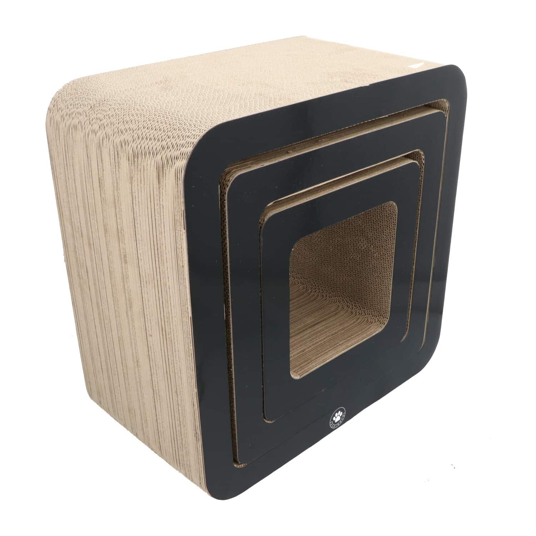 4animalz® Cube Black - kartonnen krabpaal katten - 45x24x45cm - Zwart