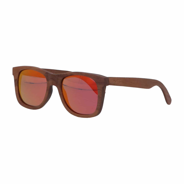 5one® Walnut Fire Red -Walnoot hout Zonnebril - spiegellens Rood