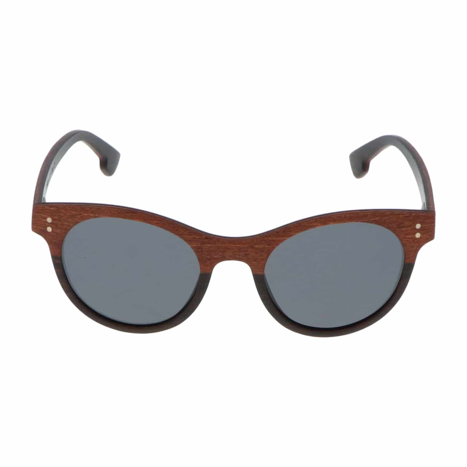 5one® Florence - Sapele hout zonnebril model Butterfly round - grijs