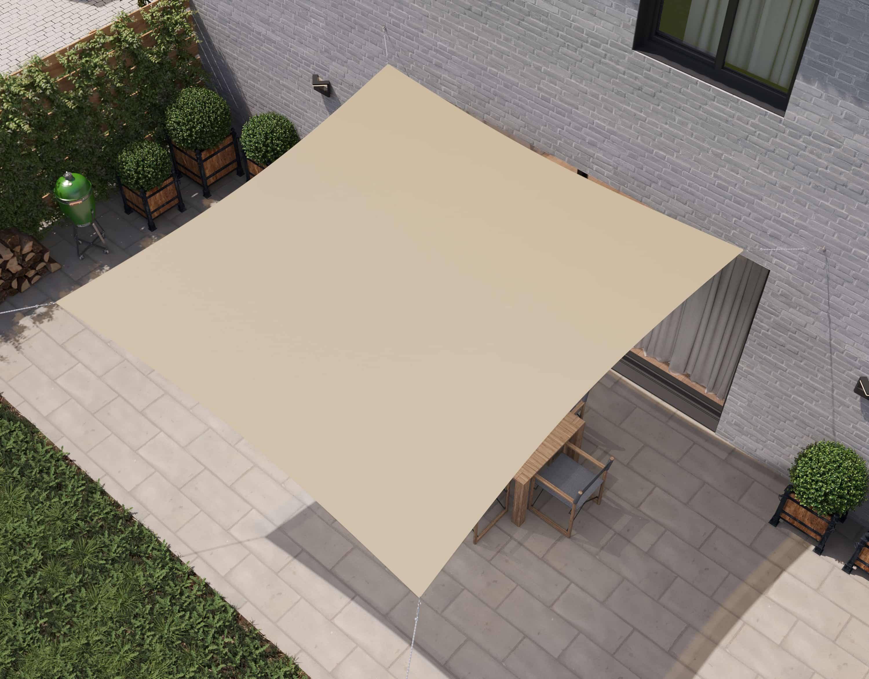 hanSe® Schaduwdoek Vierkant Waterdoorlatend 2x2 m - zonnedoek - Creme