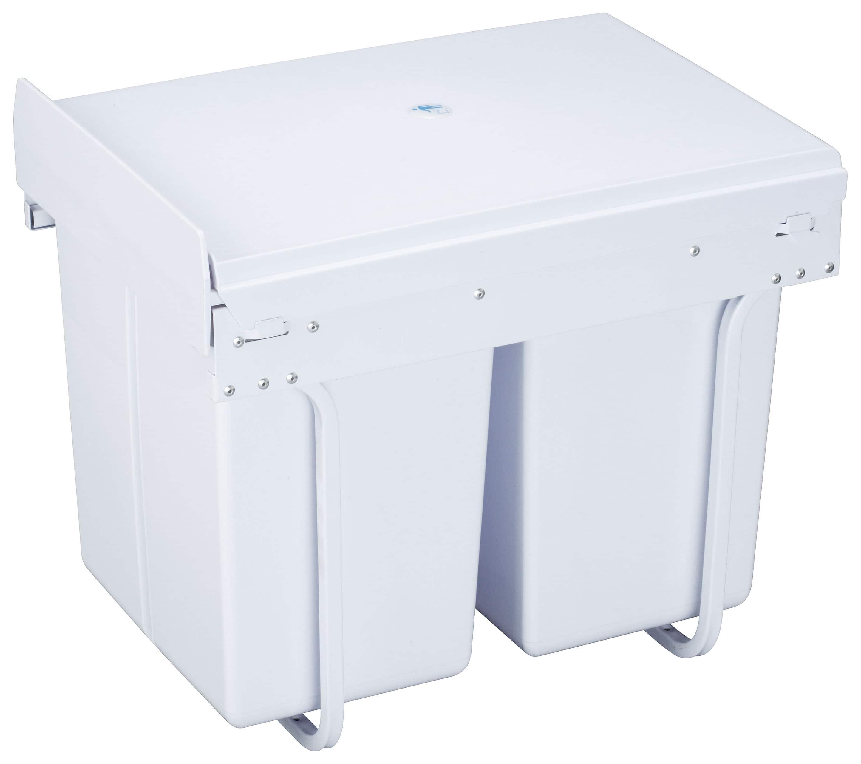 4cookz® Duo Wit Inbouw afvalbak 2x 20 liter - afvalscheiding wit 40 cm