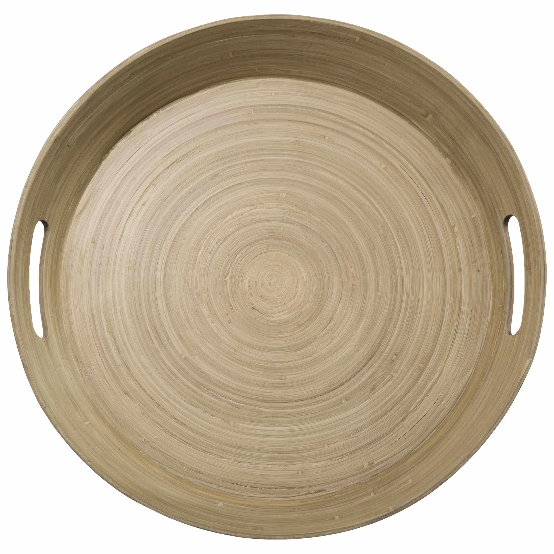 4Goodz Dienblad Rond van Bamboe met handgrepen 42cm - Bruin