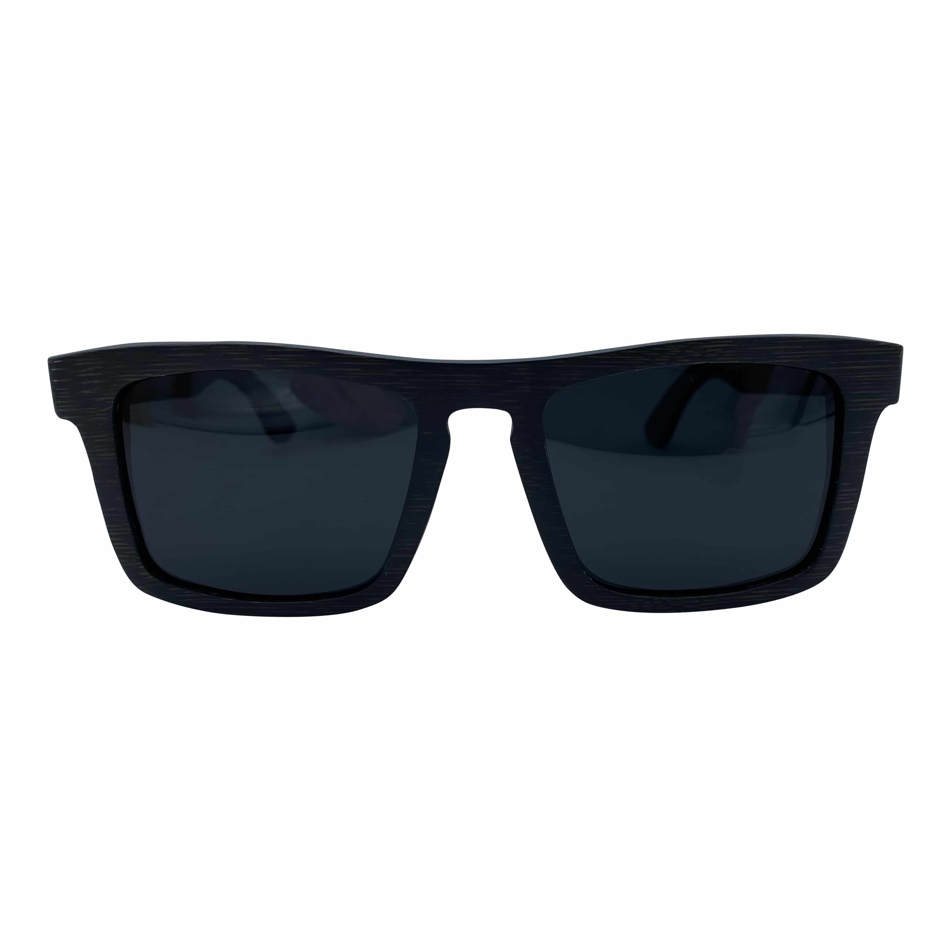 5one® Boston zwart bamboo houten zonnebril met zwarte lenzen