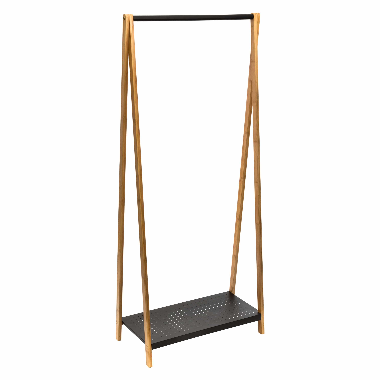 4goodz industrieel kledingrek / kapstok 71x33,5x161 cm - zwart/bruin