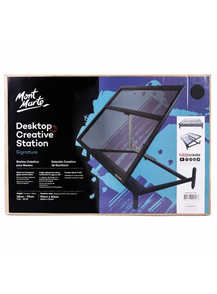 Mont Marte® glazen tafelmodel tekentafel - 90x60 cm - Hoogte 18-59 cm