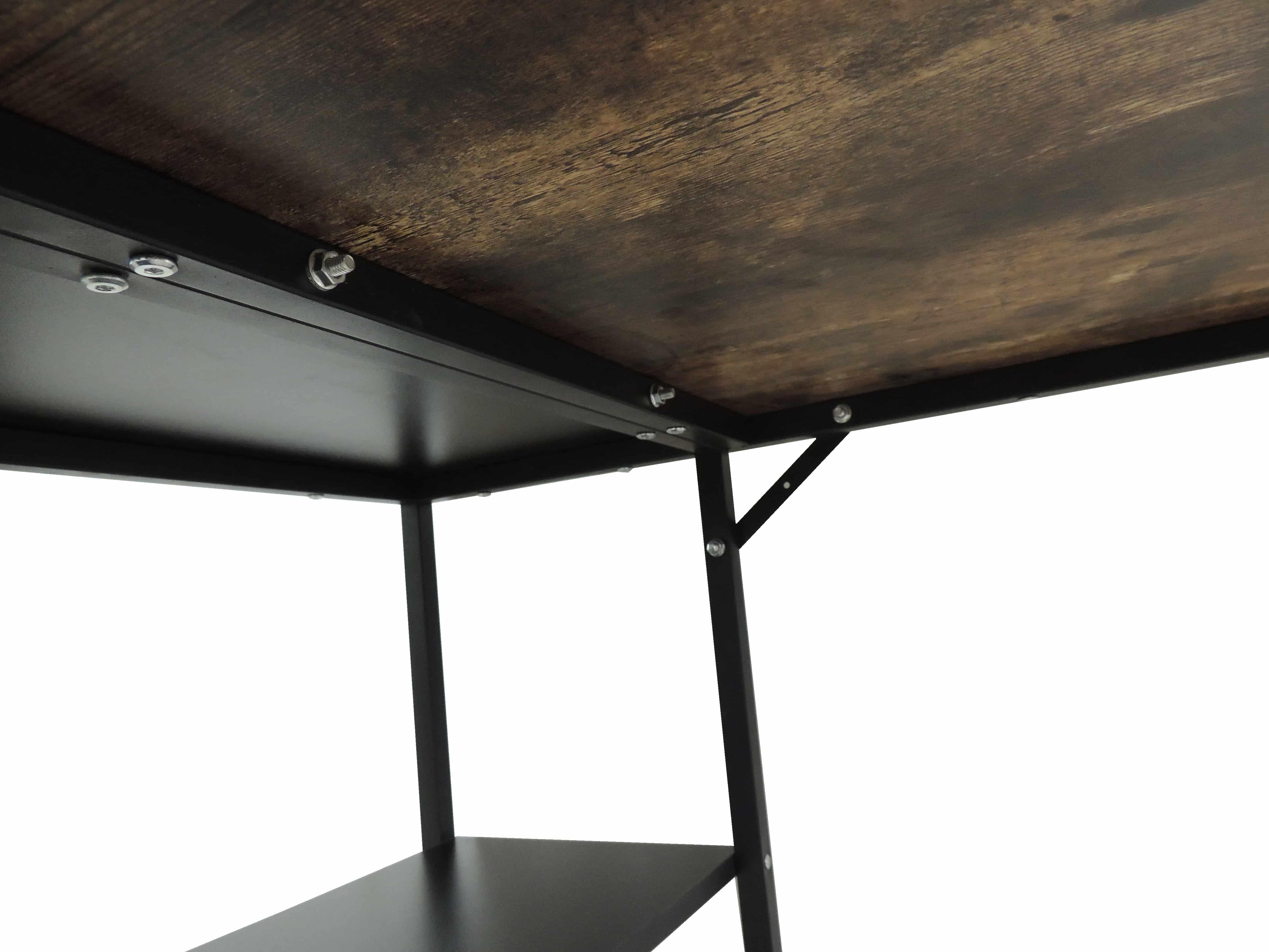 4livingz Retro Industrieel Bureau met schap 100x60x75 cm - zwart/bruin