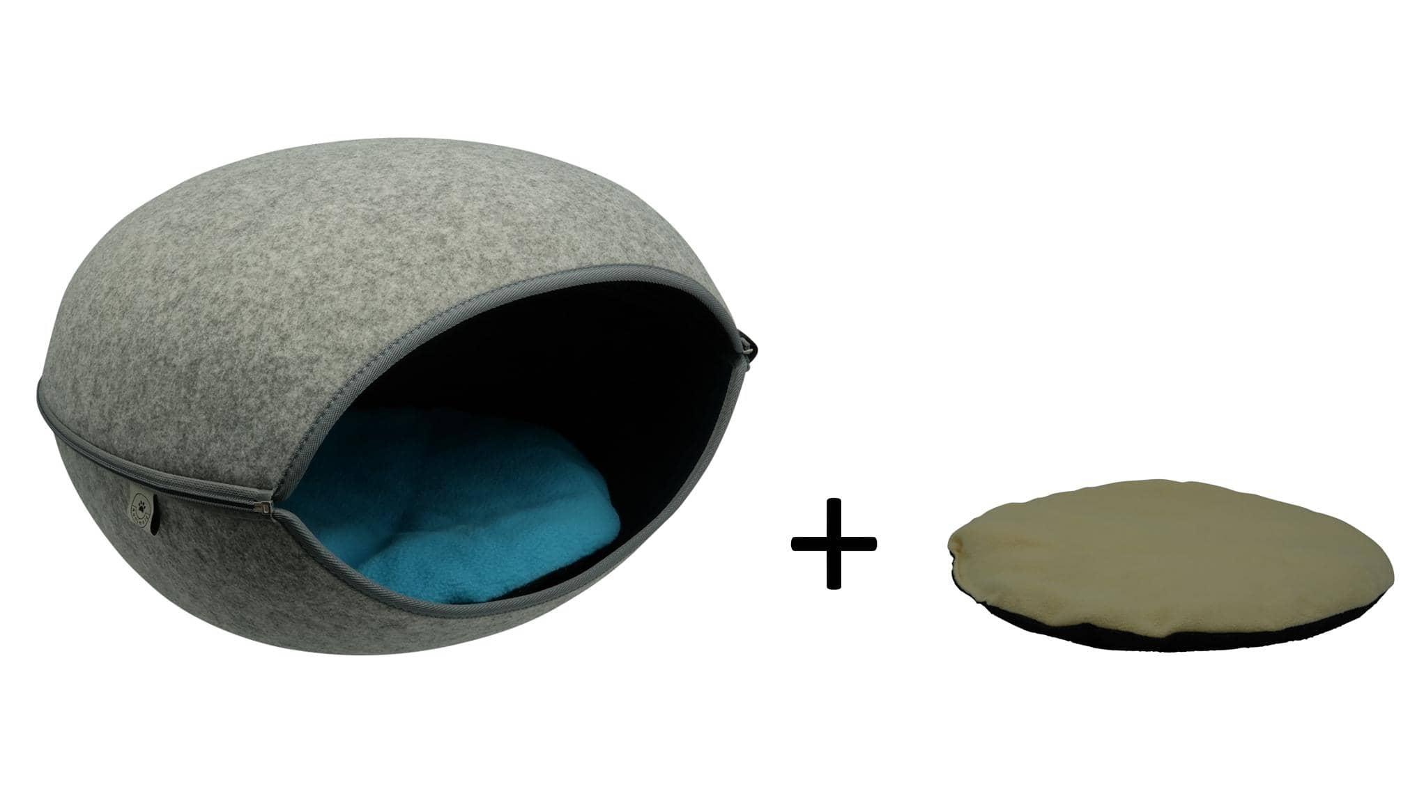 4animalz grote vilten kattenmand in Grijs - 52x45x33cm - blauw/creme