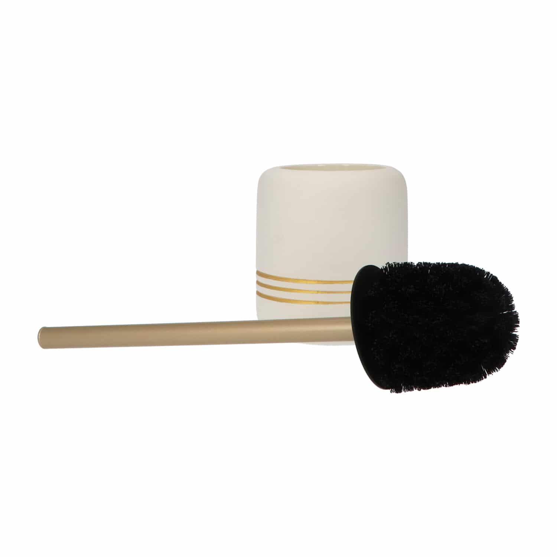4goodz toiletborstel Cremekleurig met gouden strepen