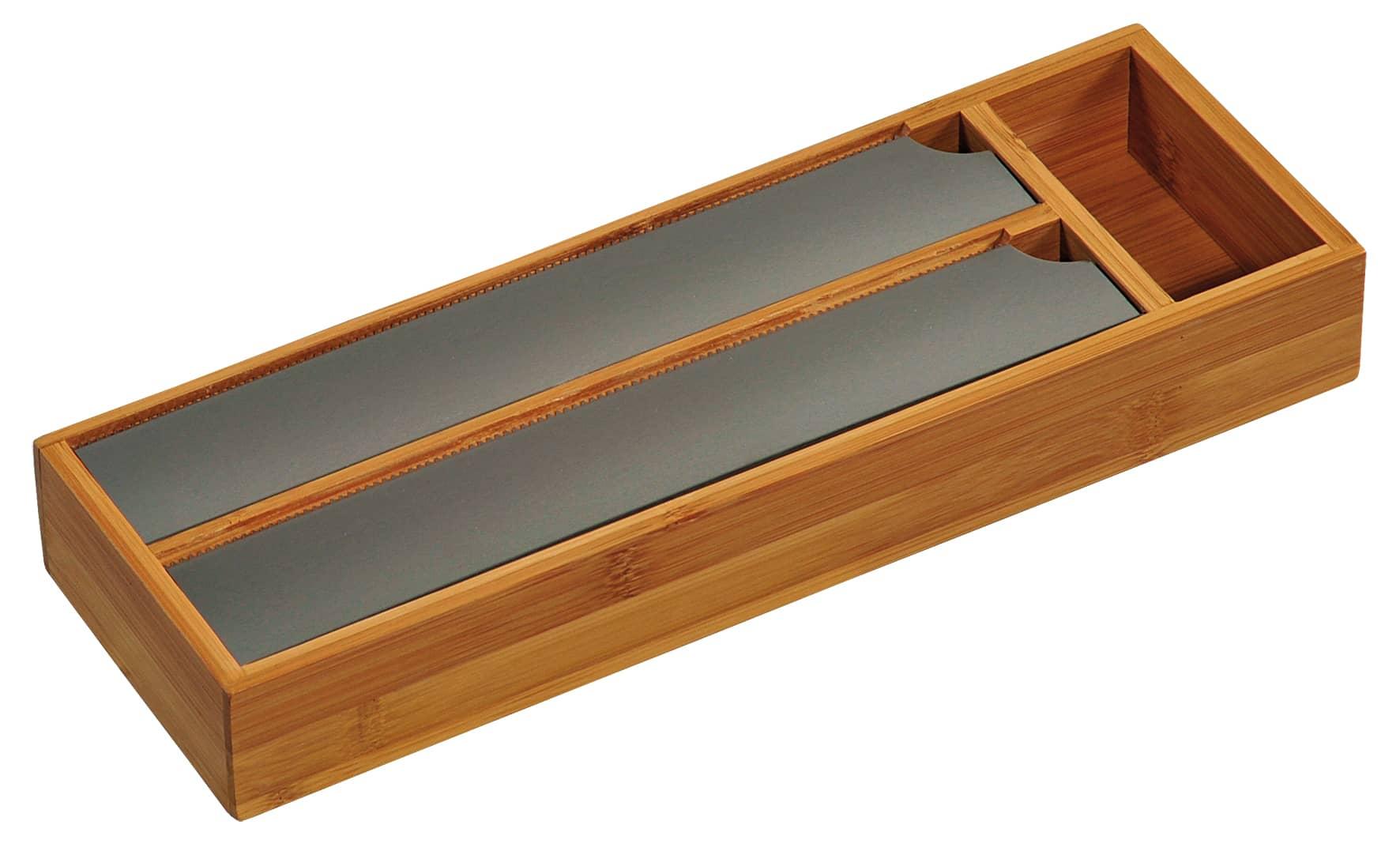 4goodz Bamboe keukenrolhouder met RVS afscheurplaten - 39,5x13x5,5 cm