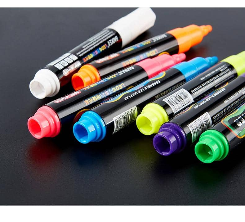 4artz® 7-delige set fluoriserende LED stiften met ronde punt