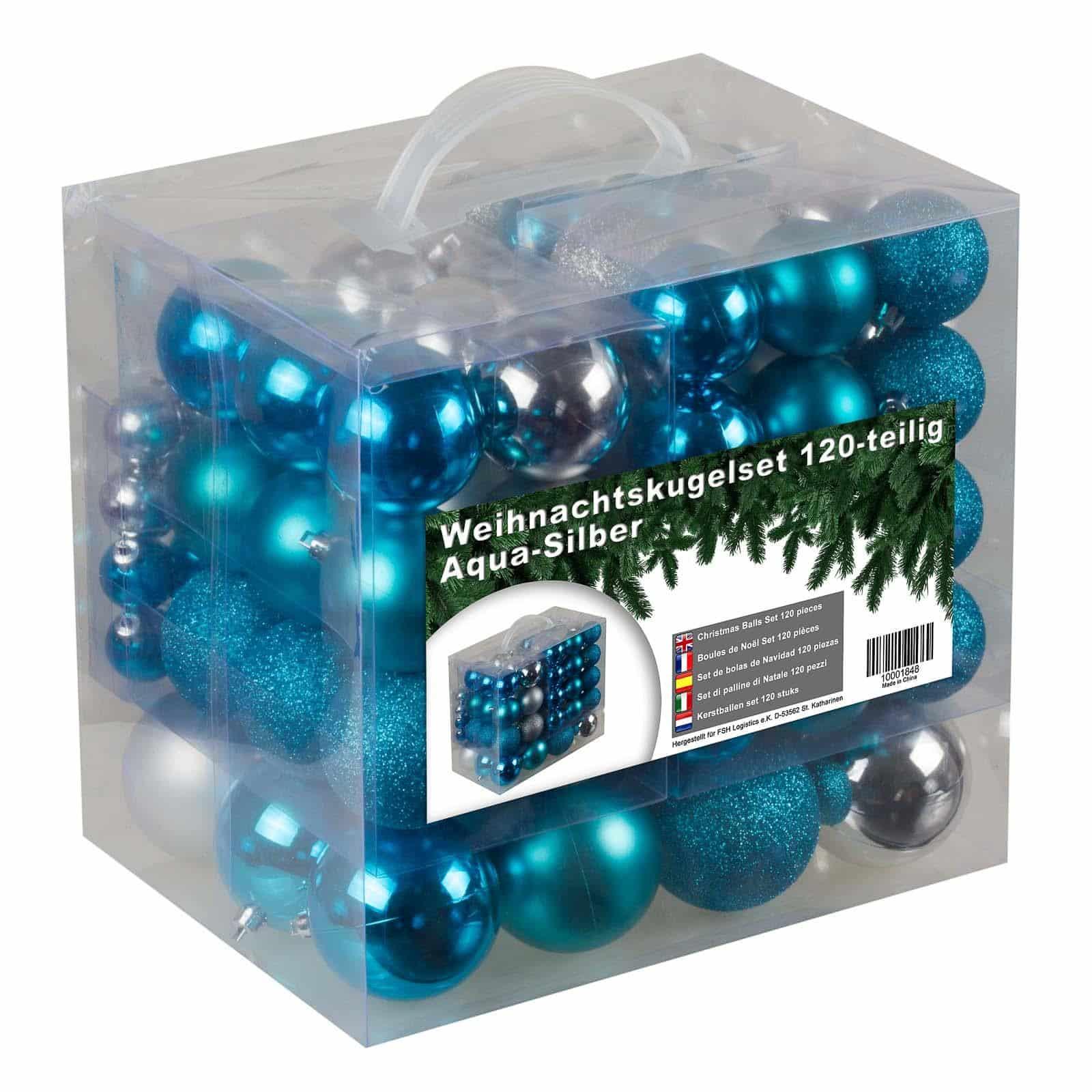 Kunststof Kerstballen set 120 ballen - binnen buiten - Blauw/Zilver