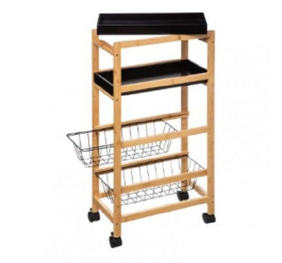 4goodz bamboe keukentrolley 4 schappen - 40x22x83cm - Zwart/Bruin