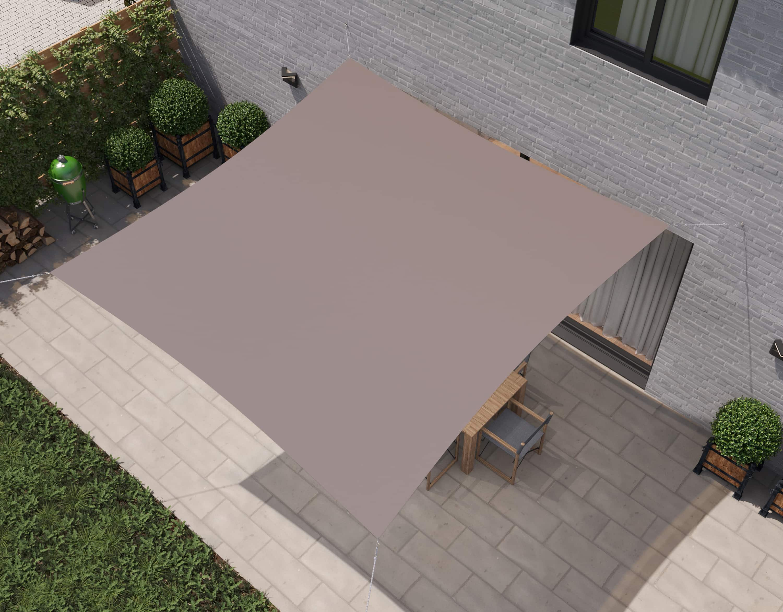 hanSe® Schaduwdoek Vierkant Waterdoorlatend 4,5x4,5 m - Taupe