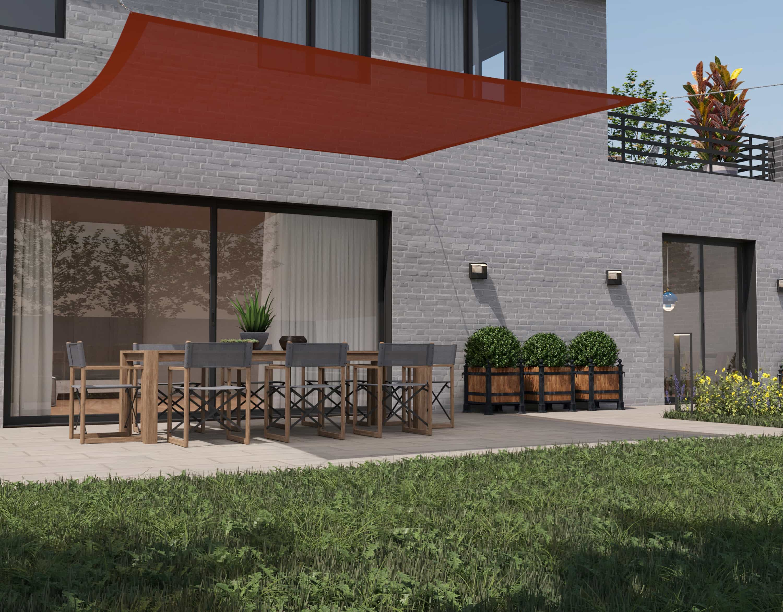 hanSe® Schaduwdoek Vierkant Waterdoorlatend 3x3 m - zonnedoek - Terra