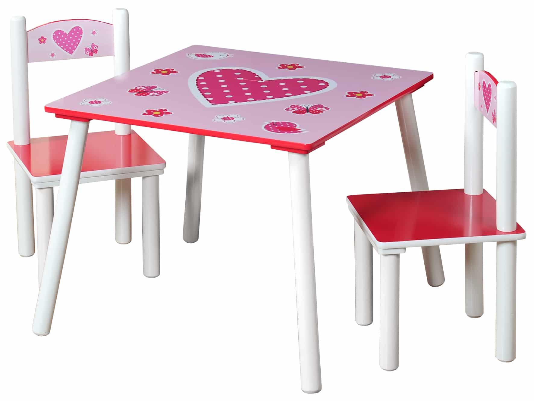 Stevige Kindertafelset met 2 stoelen hartjes motief - Roze/Wit