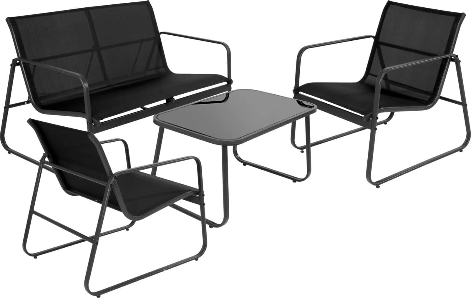 Comfortabele Tuinmeubel set textileen ventilerend zwart met tafel
