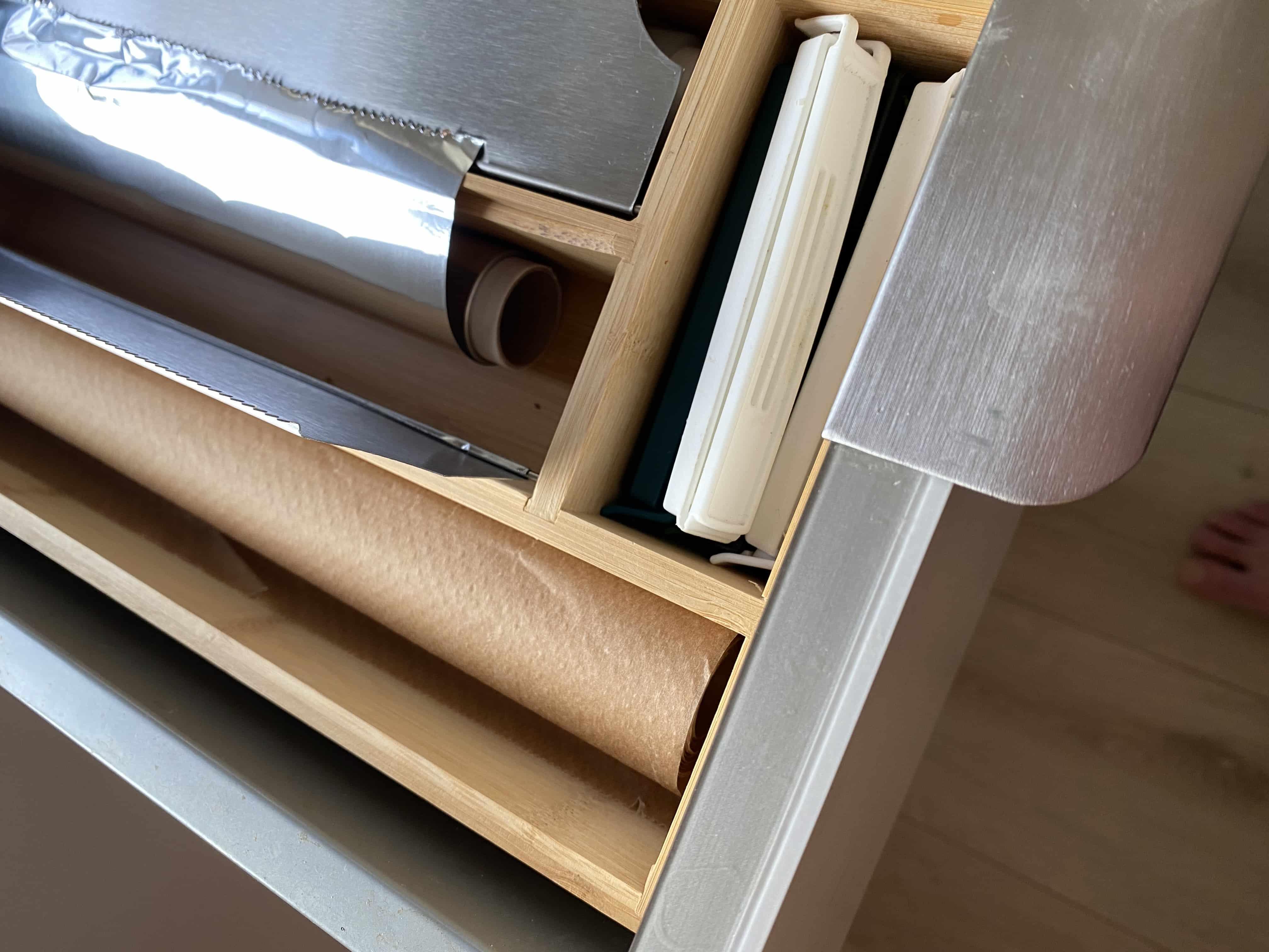 4goodz Bamboe keukenrolhouder met RVS afscheurplaten - 42x19x5,4 cm
