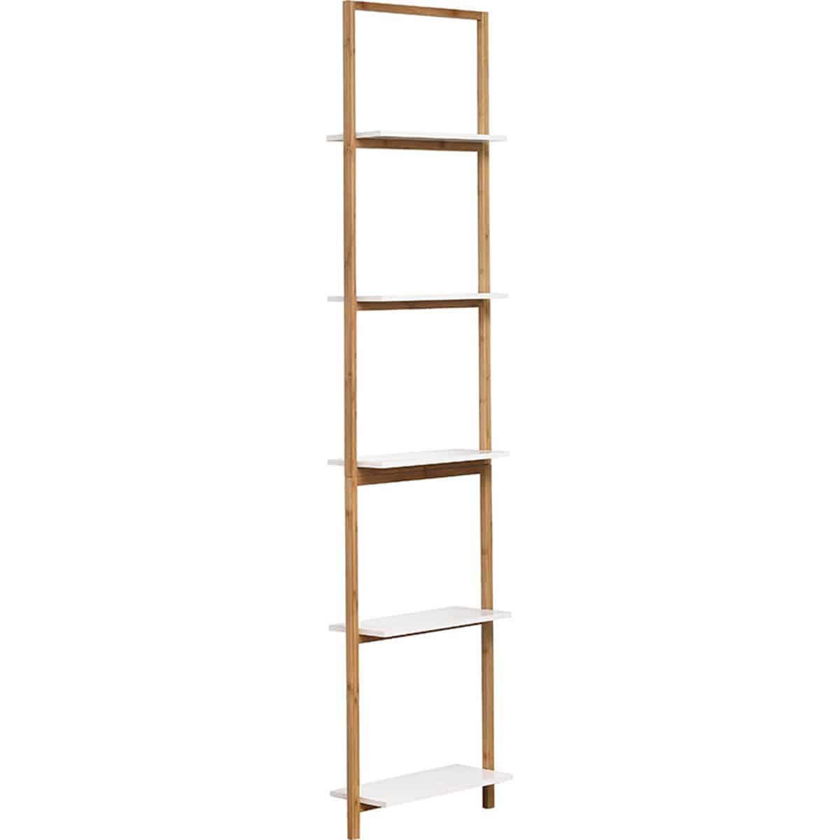 4goodz staand wandrek Nuovo 5 planken 20x40x180 cm - Wit/Bruin