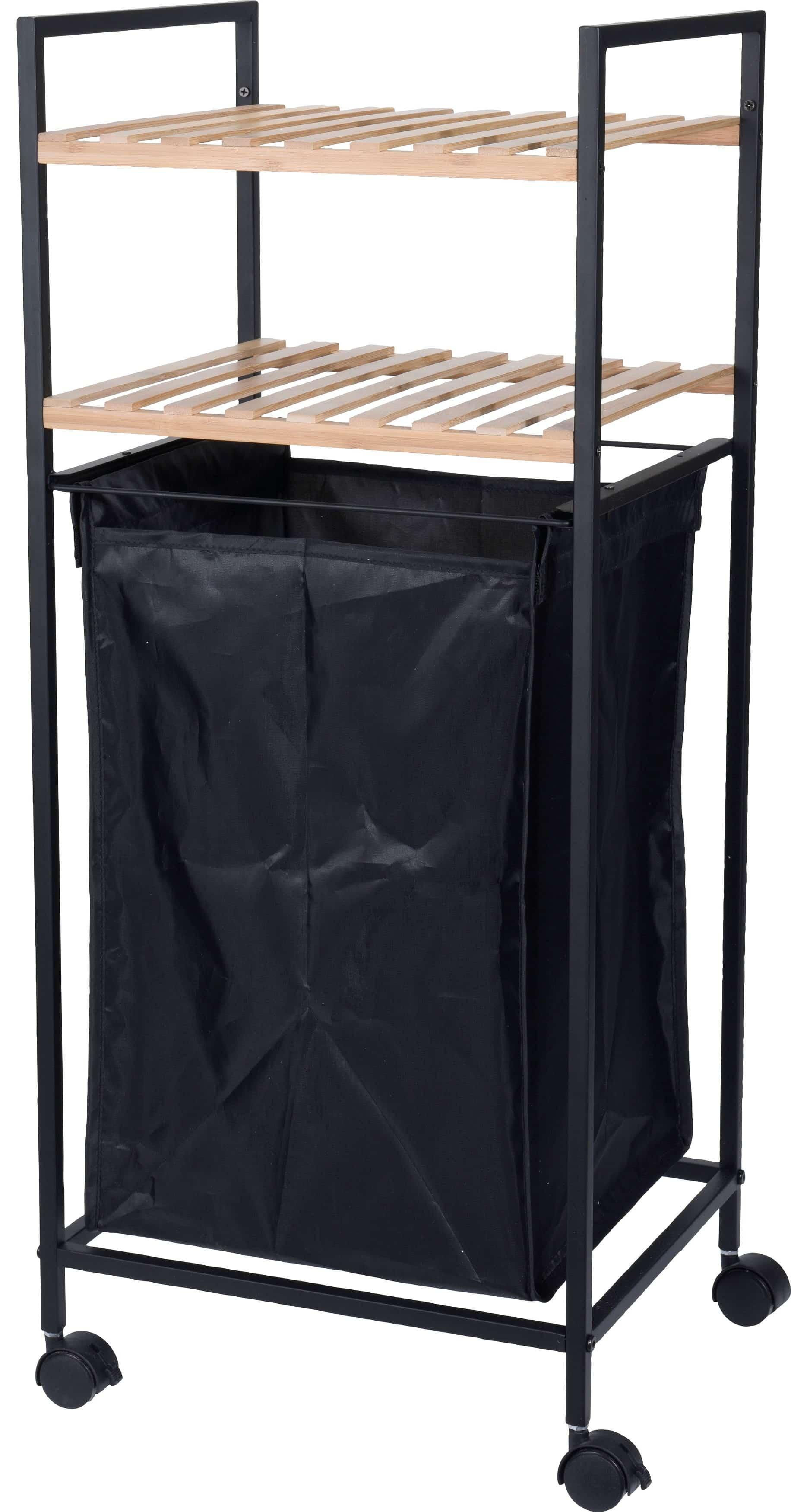 4goodz staand badkamerrek 33X34X79CM met wasmand - zwart/bamboe