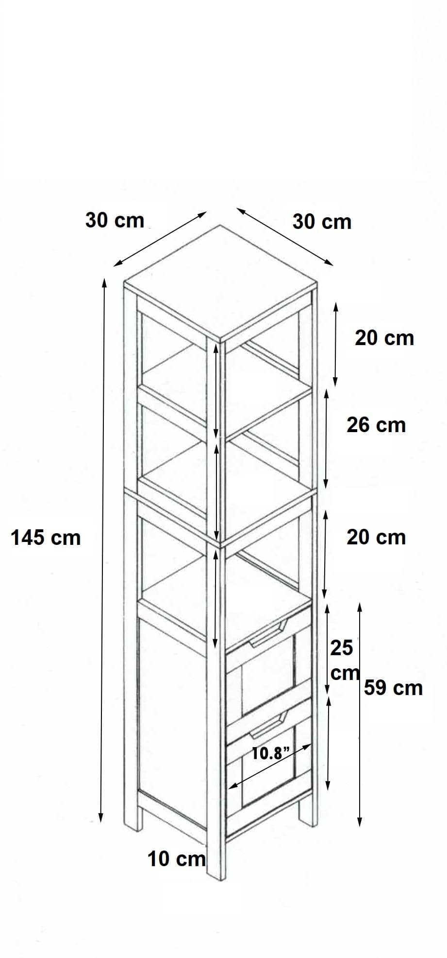 Bamboe Badkamerkast Mahe 2 lades en 3 legplanken 30x30x145 cm - Bruin