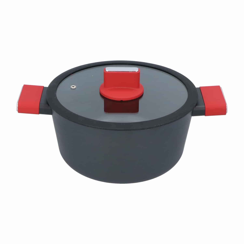 4goodz Aluminium Braadpan met siliconen handvat 25 cm - zwart/rood