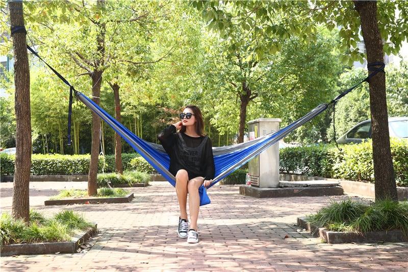 4gardenz Nylon Hangmat Blauw 270x150 cm met ophangset - max. 200 kg