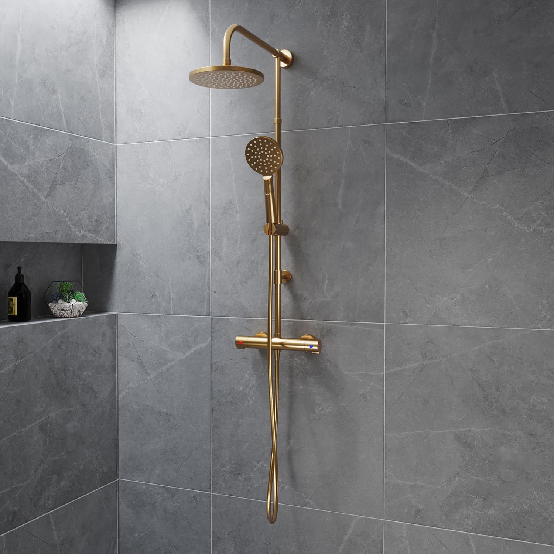 4bathroomz PVD Regendouche Brushed Brass met thermostaatkraan - 25cm