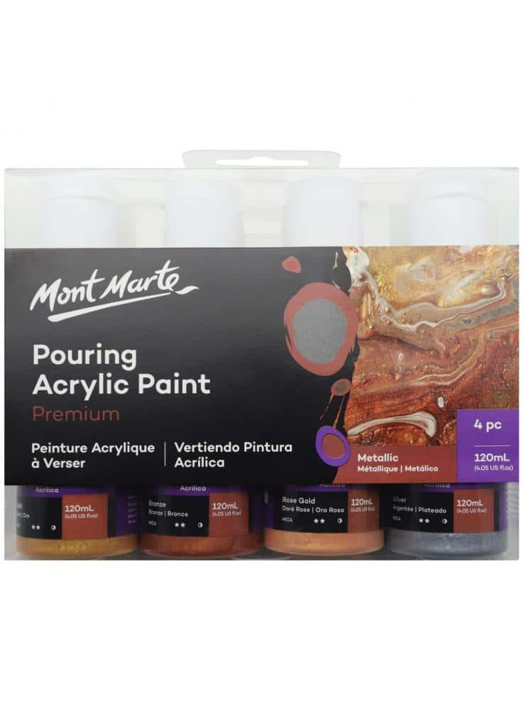 Mont Marte® Pouring Paint Metallic - set van 4 giet acrylverf 120ML