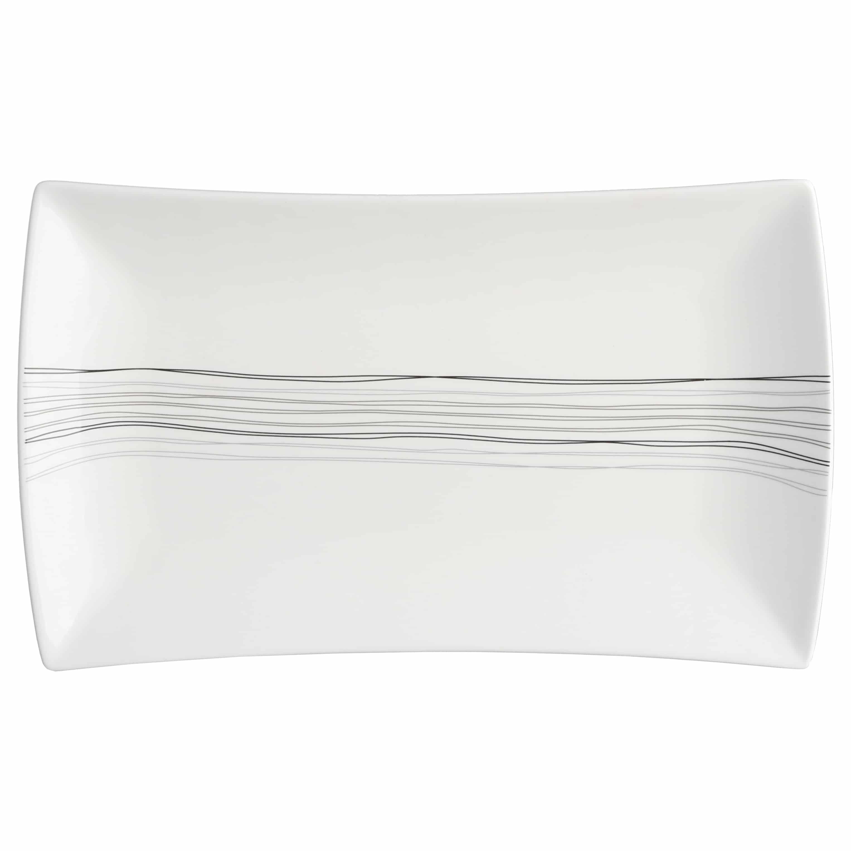 4goodz Lines 6x Porseleinen Dinerborden Rechthoek 25x15 cm - Wit