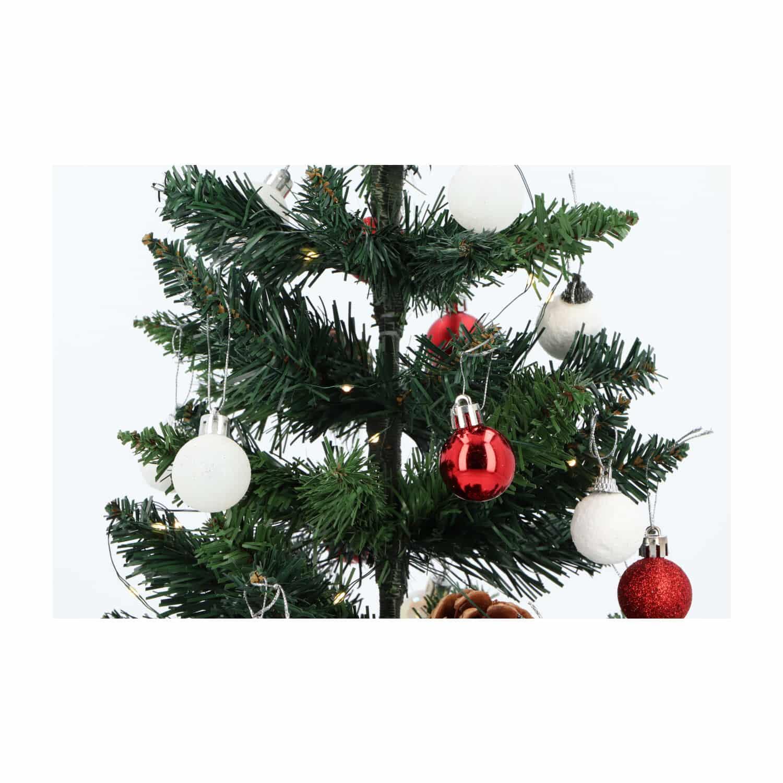 4Goodz kunstkerstboom met licht en versiering 50cm hoog - Rood/Wit