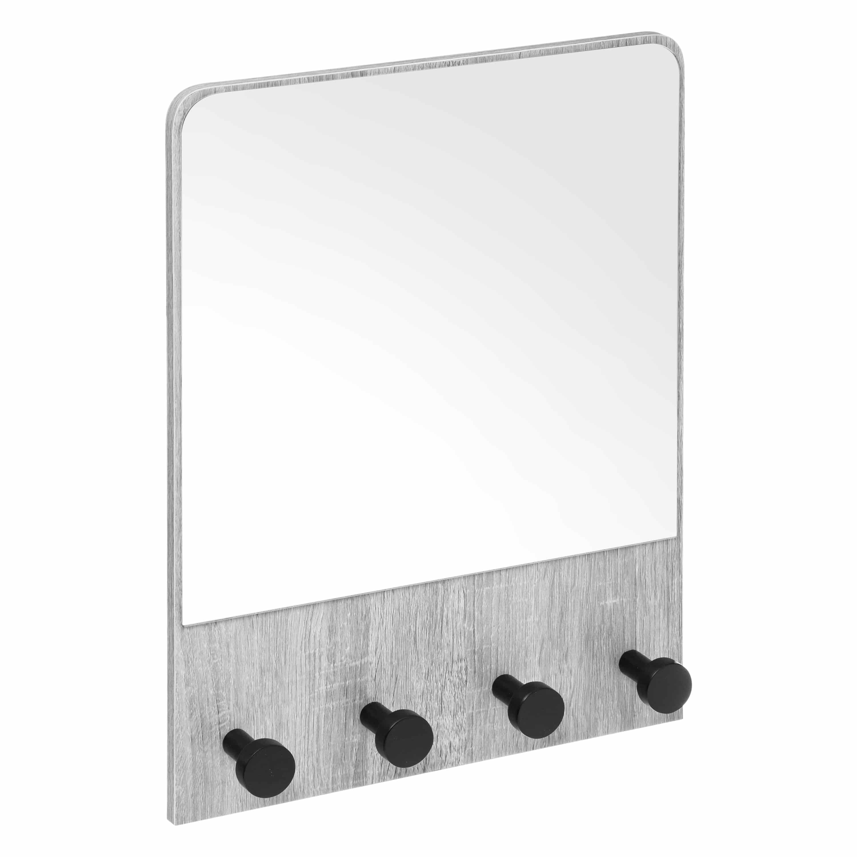 4goodz Kapstok met spiegel met 4 haken 37x6x50 cm - Kleur grijs eiken