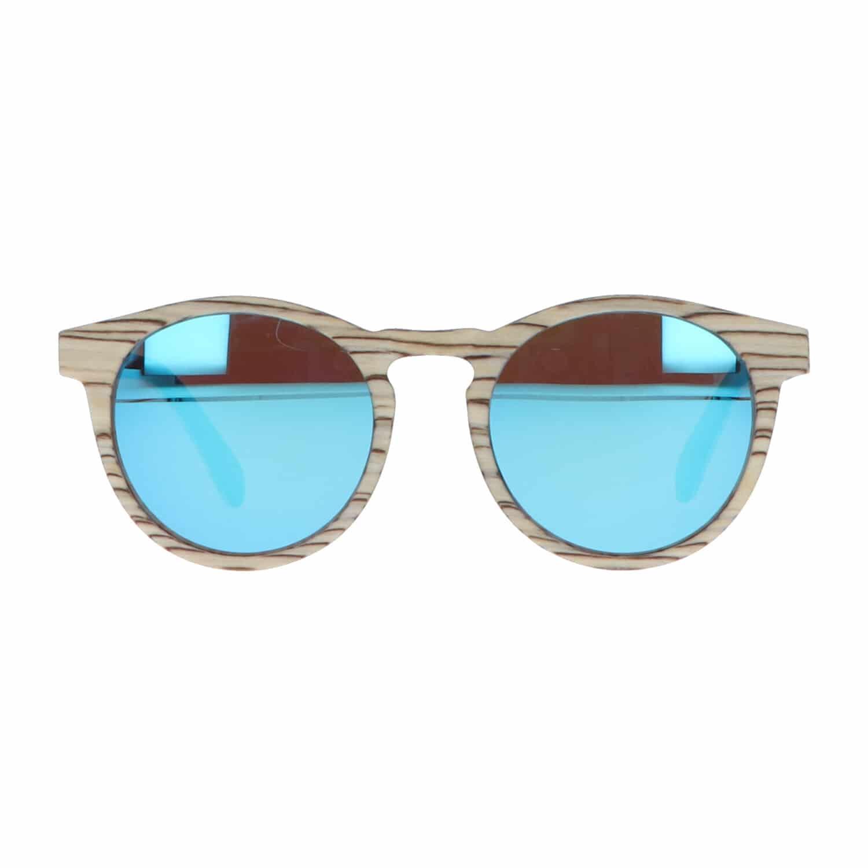 5one® Elba White striped - Wit gestreept houten zonnebril - Blauw