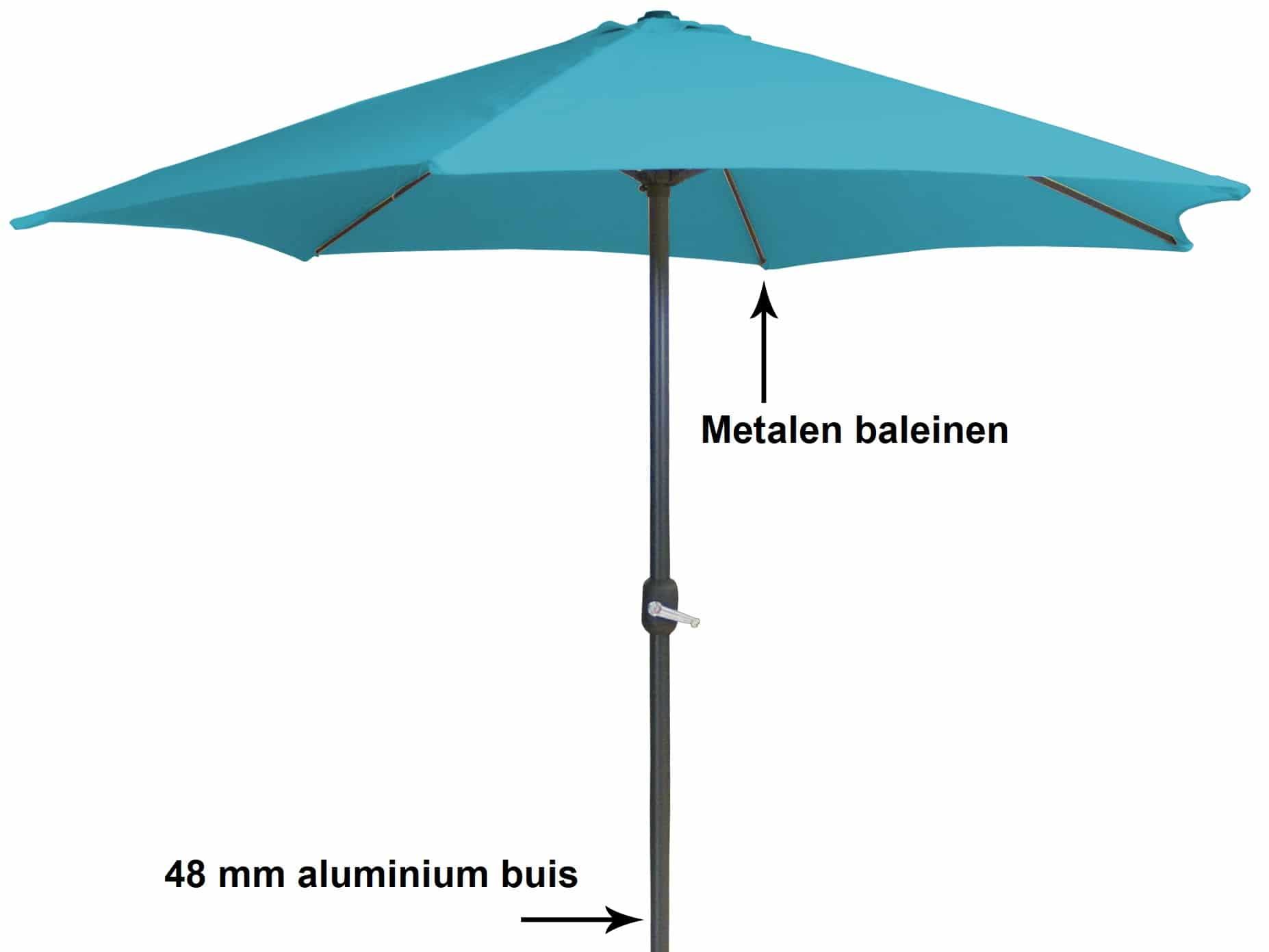 4Goodz Aluminium parasol 300 cm met opdraaimechanisme - Blauw