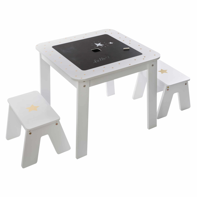 4goods Girl 3-delige set Kindertafel met Stoelen 57x57x51cm - Wit