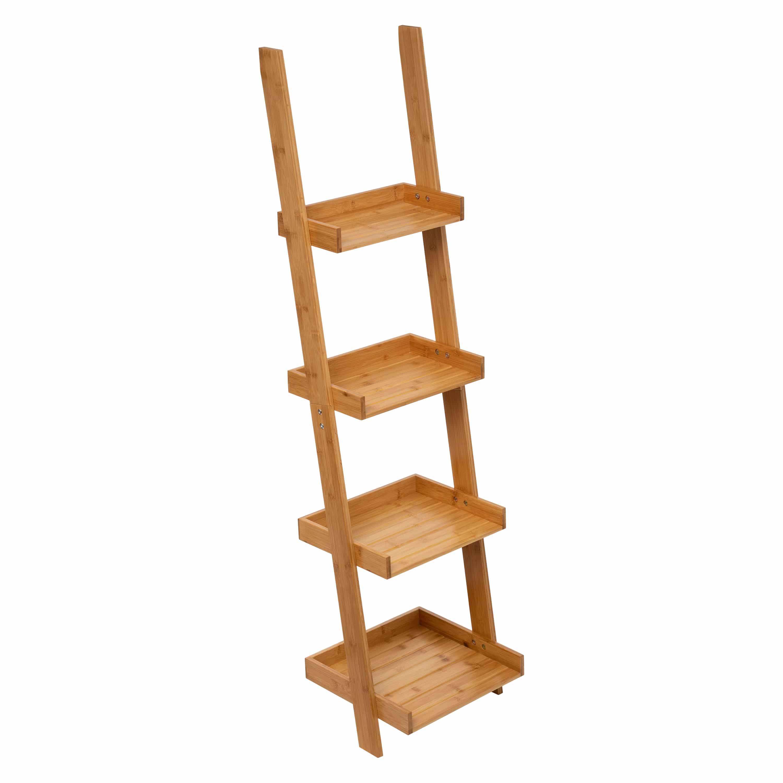 4goodz Staand Wandrek Ladder 4 laags 37x33x145 cm - Bruin