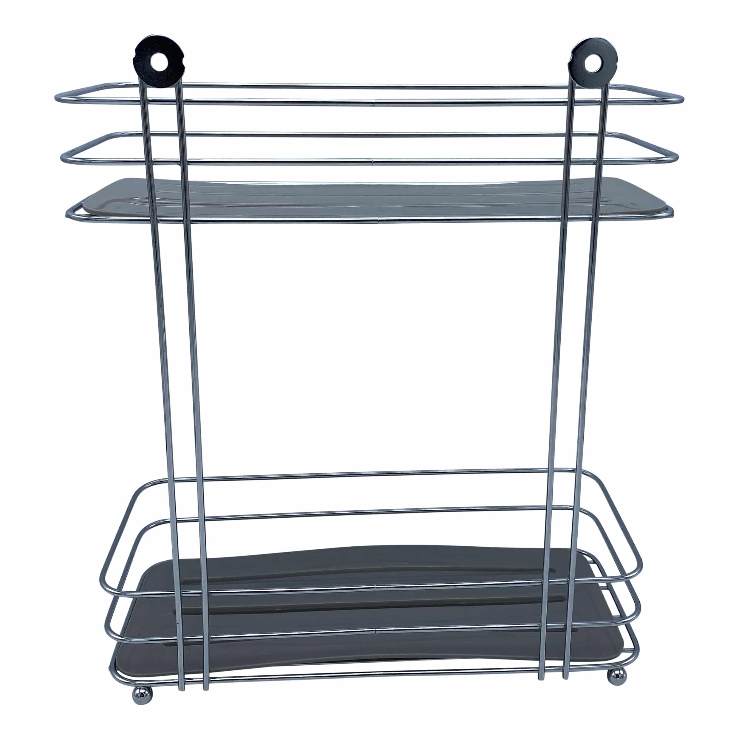 2-laags metalen doucherek rechthoekig model - Chroom/grijs